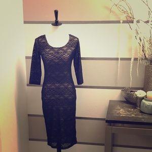 Xhilaration laser cut-out black/nude dress.